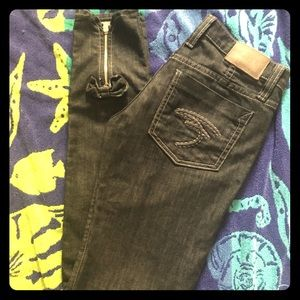 Frankie B Jeans black with zip bow bottoms